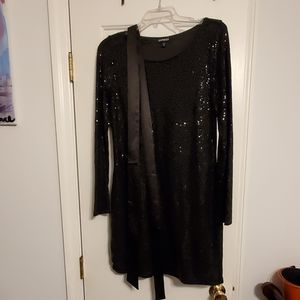 Express Black Sequined Dress with Satin Tie Belt